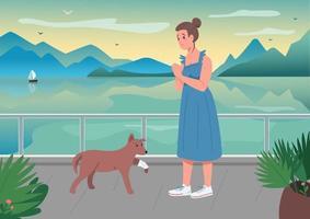 Mascota herida con dueño ilustración de vector de color plano