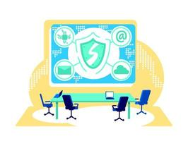Cyber control flat concept vector illustration