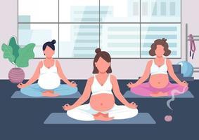 Pregnancy yoga group flat color vector illustration