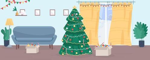 Ilustración de vector semi plano de casa de navidad