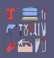 Work tools flat color vector objects set