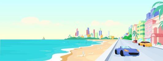 Miami Beach en la ilustración de vector de color plano durante el día