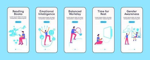 Psychologically balanced life onboarding mobile app screen flat vector template