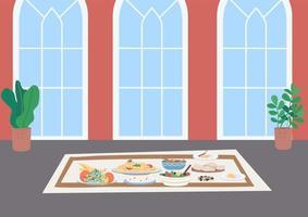 Muslim traditional dinner flat color vector illustration