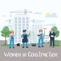 Female building site workers post vector