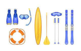 Summer and winter sports gear flat color vector objects set