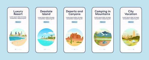 Recreation in nature app screen vector