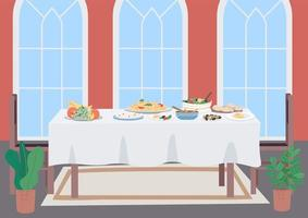 Luxury dinner table flat color vector illustration