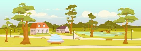 Ilustración de vector de color plano de parque de la ciudad
