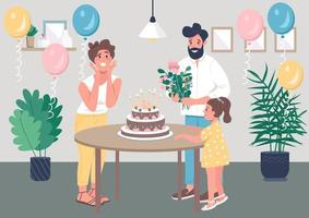 Surprise bday party flat color vector illustration