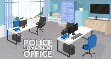 Police department office banner flat vector template