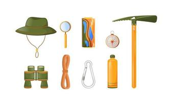 Climbing equipment flat color vector objects set