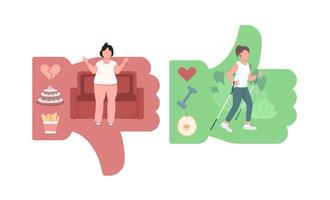 Women lifestyle comparison flat concept vector illustration
