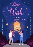 Make wish poster flat vector template