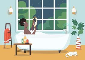 Women self care procedure flat color vector illustration