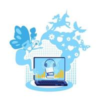 Audiobook on computer flat concept vector illustration