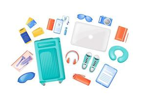 Travel essentials flat color vector objects set