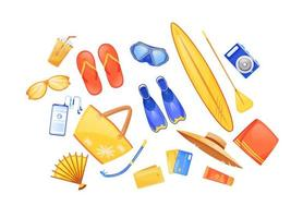 Summer beach essentials flat color vector objects set