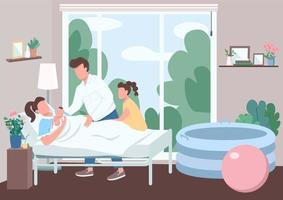 Family support for childbirth flat color vector illustration