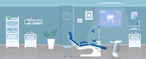 Ilustración de vector de color plano de oficina dental