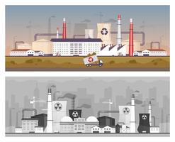 Recycling and power plant flat color vector illustrations set