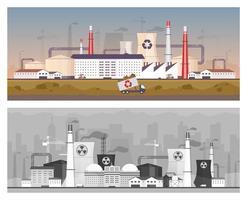 Conjunto de ilustraciones vectoriales de color plano de reciclaje y planta de energía
