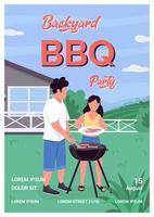 Backyard bbq party poster flat vector template