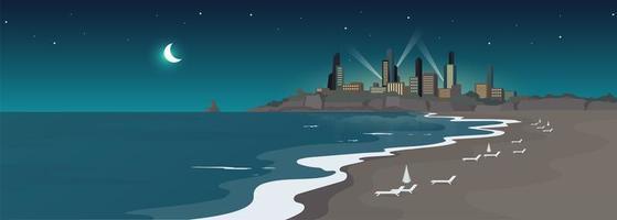 Sandy urban beach at night flat color vector illustration