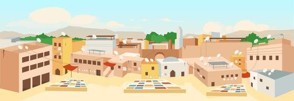 Ilustración de vector de color plano de la ciudad vieja de Túnez