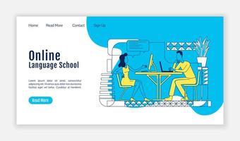 plantilla de vector de silueta plana de página de destino de escuela de idiomas en línea