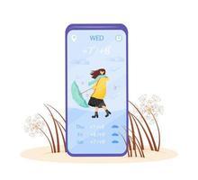 Weather forecast cartoon smartphone vector app screen