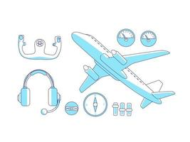 Aviation items turquoise linear objects set vector