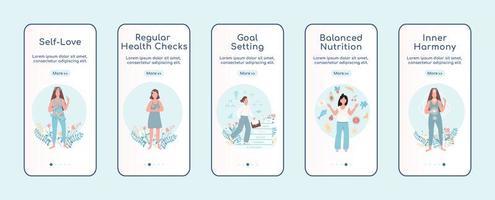 Women mental health onboarding mobile app screen flat vector template