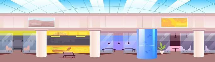 Ilustración de vector de color plano de patio de comidas