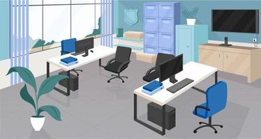 Police department office flat vector