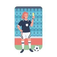 Woman football referee flat color vector detailed character