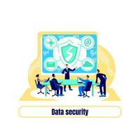 Cyber protection flat concept vector