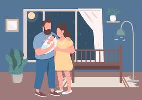 Young parents with infant flat color vector illustration