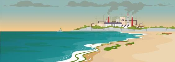 Contaminated sandy beach flat color vector illustration
