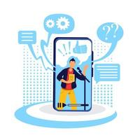 Podcast on smartphone flat concept vector illustration