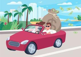 Hombre exitoso en coche con ilustración de vector de color plano de bolsa de dinero