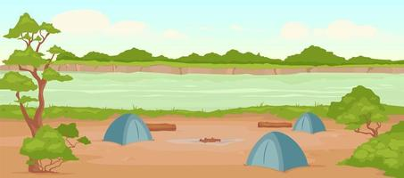 Ilustración de vector de color plano de camping