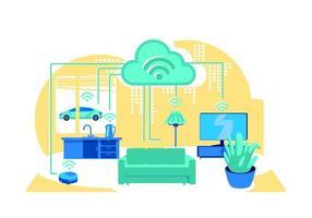 Ilustración de vector de concepto plano de casa inteligente interior