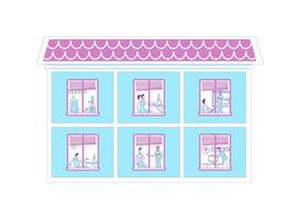 People in offices flat color vector illustration