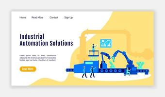 Industrial automation solutions landing page flat color vector template