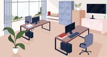 Ilustración de vector de color plano de espacio de coworking