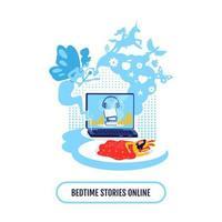 Children book streaming flat concept vector illustration