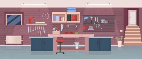 Carpenter workshop flat illustration vector
