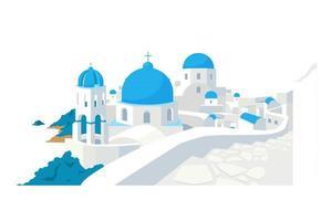 Santorini buildings flat color vector object