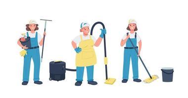 conjunto de caracteres detallados de vector de color plano de señoras de la limpieza